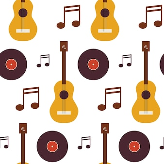 Patroon muziek vinyl schijf gitaar en notitie. vlakke stijl vector naadloze textuur achtergrond. muzikale sjabloon. kunst en vermaak. rots en geluid. akoestische gitaar