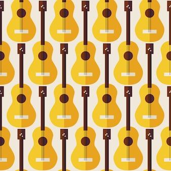 Patroon muziekinstrument gitaar. vlakke stijl vector naadloze textuur achtergrond. muzikale sjabloon. kunst en vermaak. snaargitaar. akoestische gitaar