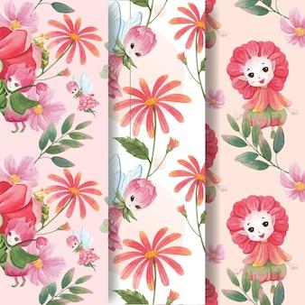 Patroon naadloos met bloemen karakter concept aquarel illustratie