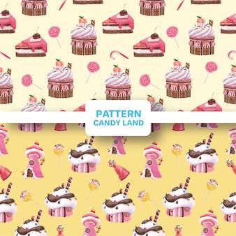 Patroon naadloos met candy land concept