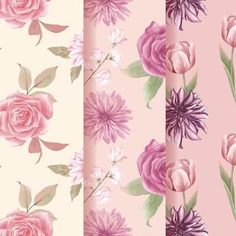 Patroon naadloos met cottagecore bloemenconcept, aquarelstijl
