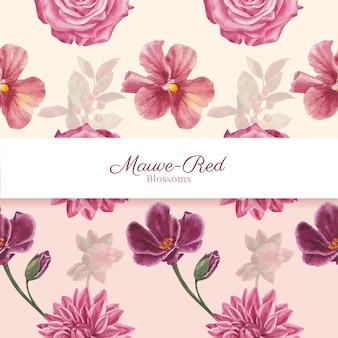 Patroon naadloos met muave rood bloemenconcept, aquarelstijl