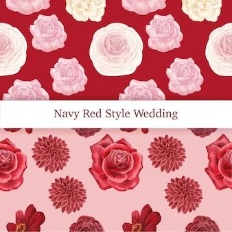 Patroon naadloos met rode marine bruiloft concept, aquarel stijl