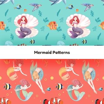 Patroon naadloos met zeemeerminconcept, aquarelstijl