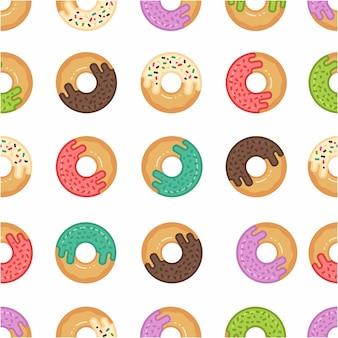 Patroon naadloos van doughnut in moderne stijl vlakke lijn