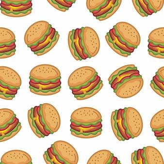 Patroon naadloos van hamburger in modern ontwerp van de stijl het vlakke lijn