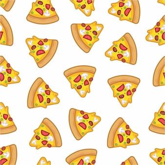 Patroon naadloos van pizza in moderne stijl platte lijn Premium Vector
