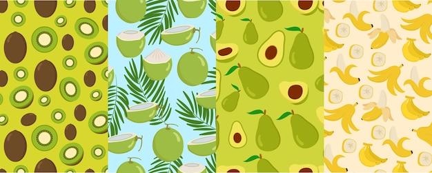 Patroon naadloze zomer fruit kiwi kokos avocado banaan segment stuk