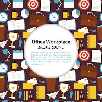 Patroon office werkplek achtergrond. vlakke stijl vectorillustratie voor zakelijke promotie sjabloon. kleurrijke office-hulpmiddelen en objecten voor reclame. kantoor levensstijl.
