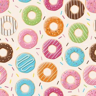 Patroon ontwerp van gekleurde donuts