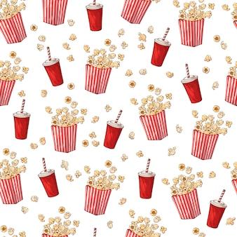 Patroon op het snacks thema: popcorn.