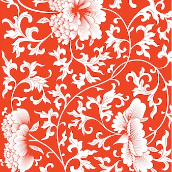Patroon op rode achtergrond met chinese bloemen.