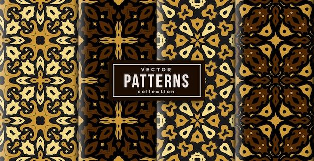 Patroon ornament stijl batik kleuren set van vier. naadloze achtergrond set