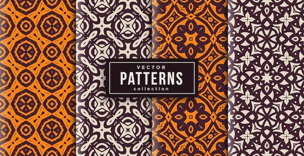 Patroon ornament stijl batik set van vier. naadloze achtergrond set