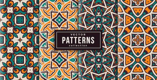 Patroon ornament stijl groen en geel set van vier. naadloze achtergrond set