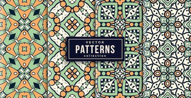 Patroon ornament stijl groen en oranje set van vier. naadloze achtergrond set