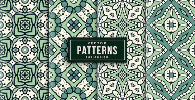 Patroon ornament stijl groen en wit set van vier. naadloze achtergrond set