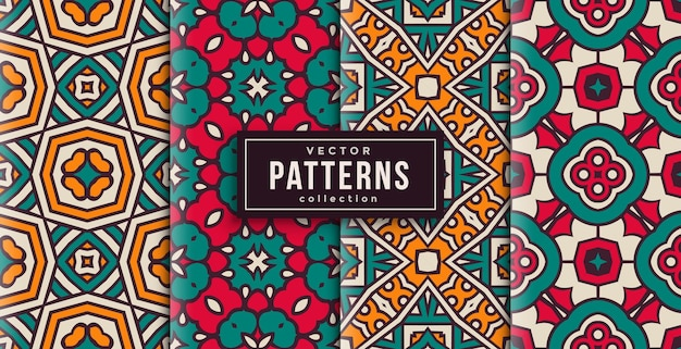 Patroon ornament stijl kleuren set van vier. naadloze achtergrond klaar om af te drukken