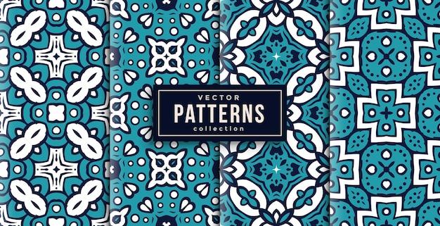 Patroon ornament stijl koele kleuren set van vier. naadloze achtergrond set