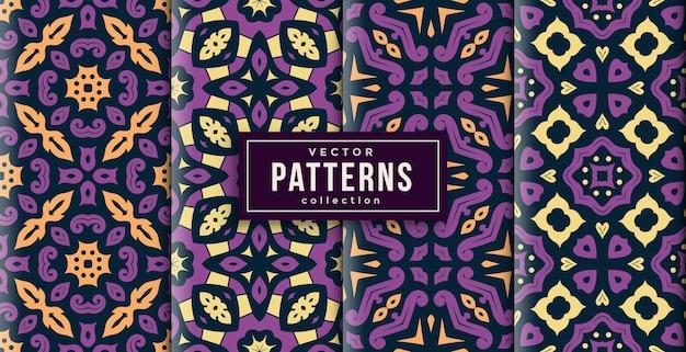 Patroon ornament stijl lila kleuren set van vier. naadloze achtergrond set