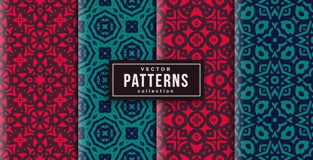 Patroon ornament stijl rood en groen set van vier. naadloze achtergrond set