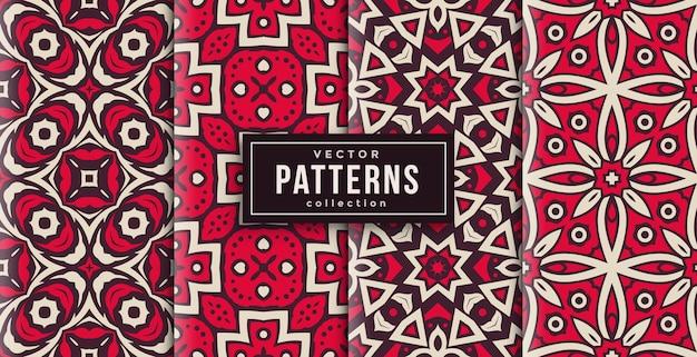 Patroon ornament stijl rood en wit set van vier. naadloze achtergrond set