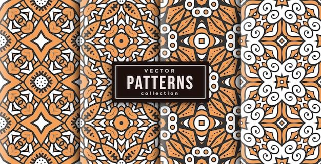 Patroon ornament stijl warme kleuren set van vier. naadloze achtergrond set