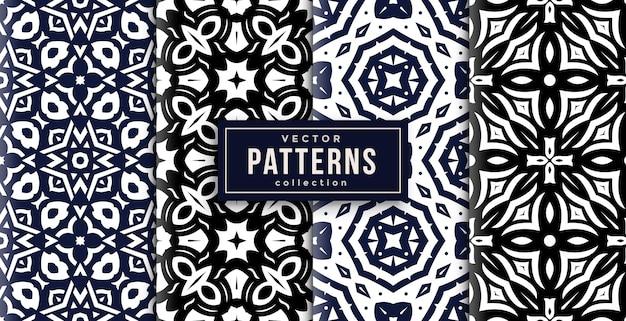 Patroon ornament stijl zwart, blauw en wit set van vier. naadloze achtergrond