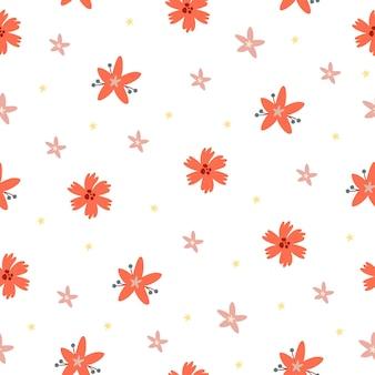 Patroon rode bloemen