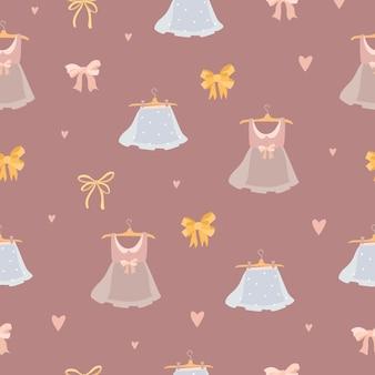 Patroon schattig met meisjesachtige jurken