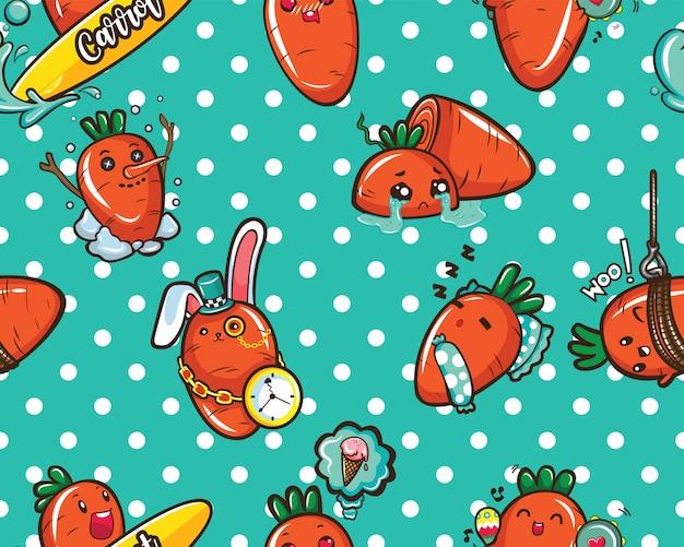 Patroon schattige wortel stripfiguur.