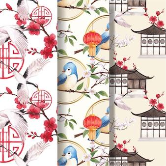 Patroon sjabloon met gelukkig chinees nieuwjaar conceptontwerp aquarel illustratie