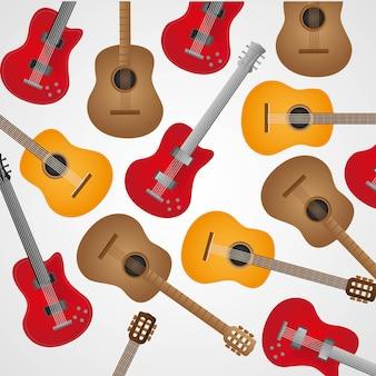 Patroon van akoestische en elektrische gitaren