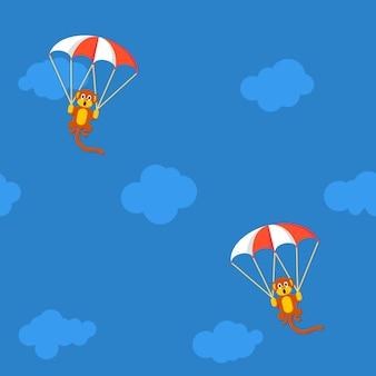 Patroon van apen in de lucht met parachute