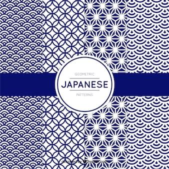 Patroon van blauwe geometrische vormen in japanse stijl