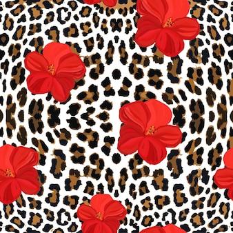 Patroon van bloemen en luipaardvel