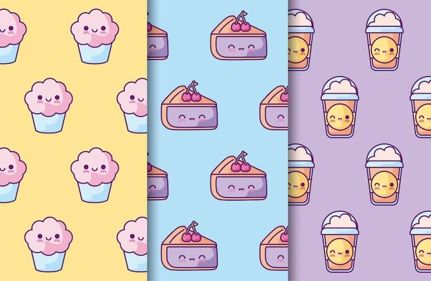 Patroon van cakes met pannenkoeken en drankjes