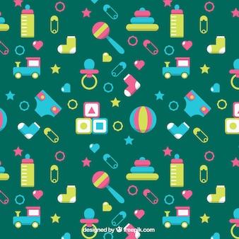 Patroon van de baby met kleurrijke objecten en groene achtergrond