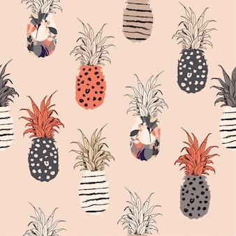 Patroon van de pastelkleur het hand getrokken ananas opvulmateriaal