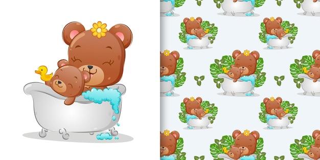 Patroon van de twee beer nemen een bad in de badkuip met rubberen eend