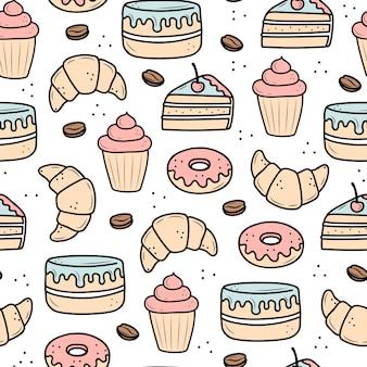 Patroon van desserts en cakes. cartoon stijl