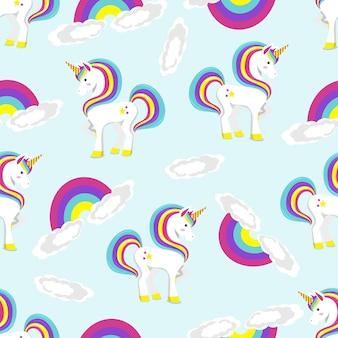 Patroon van eenhoorn die zich op regenboog bevindt. platte vectorillustratie.