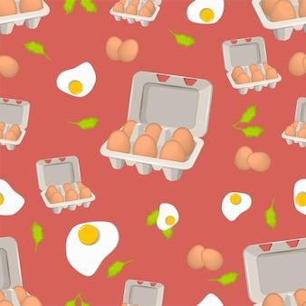 Patroon van eieren in vak op rode achtergrond. vectorillustratie.