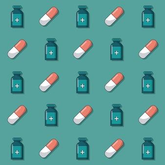 Patroon van geanimeerde geneeskundeflessen en pillen