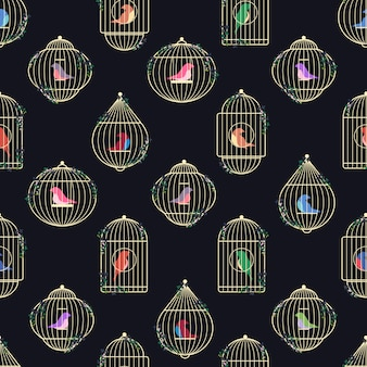 Patroon van gouden vogelkooien.
