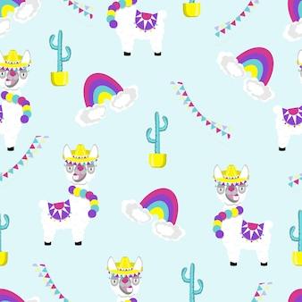 Patroon van grappige lama alpaca op blauwe achtergrond. platte afbeelding van schattig en grappig dier.