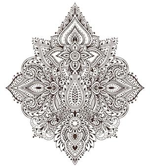 Patroon van henna bloemen elementen op basis van traditionele aziatische ornamenten.