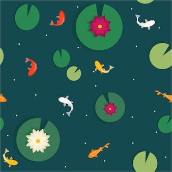 Patroon van japanse karper en waterleliebladeren met lelies op het water