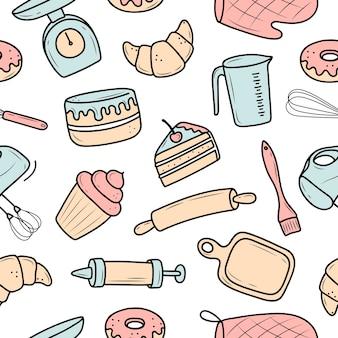 Patroon van keukenartikelen. koken van desserts en gebak. cartoon stijl