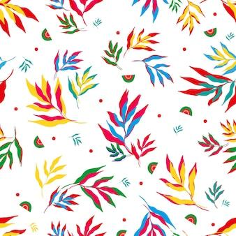 Patroon van kleurrijke tropische bladerenvector